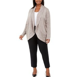 Karen Scott Shawl Collar Cardigan Sweater 1X Brown